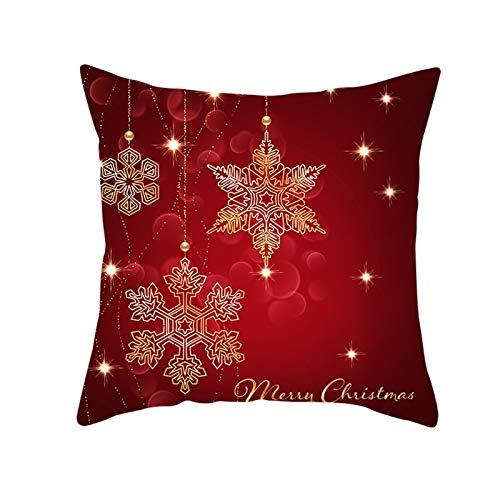 ANAZOZ Fundas Cojines 45x45 A Cuadros,Fundas Cojin Poliéster Fundas Cojines Copos de Nieve Merry Christmas Rojo Oscuro Oro
