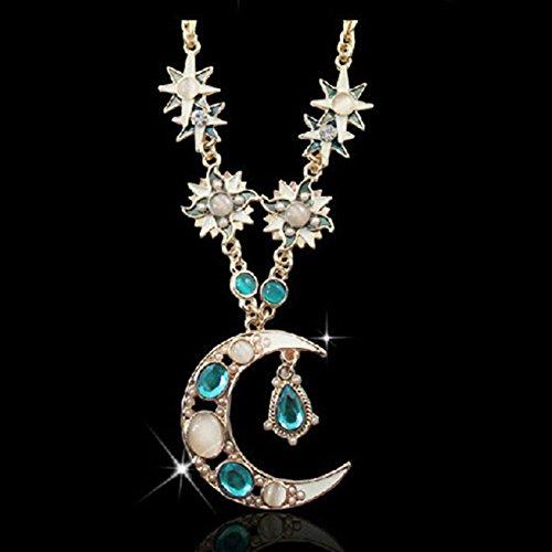 Gemini_mall® Damen Halskette mit Anhänger, Zirkonia, Blume, lang, verstellbar, Mond