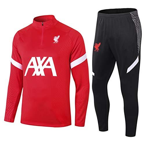 Lǐvěrpǒǒl Hombres Jerseys de fútbol Conjuntos - Adultos Camisetas de fútbol de Manga Larga Cuartos-Cremallera Sportswear A-XL