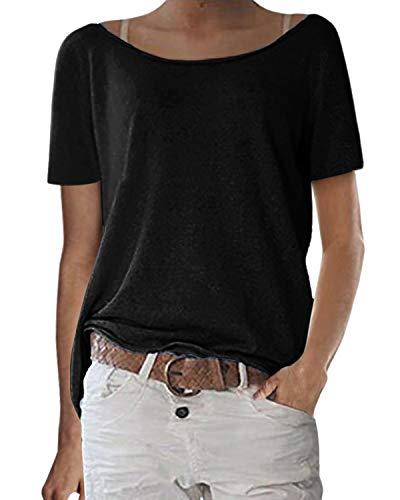 ZANZEA Damska bluzka z krótkim rękawem okrągły dekolt na co dzień luźna letnia baza T-shirt bluzka