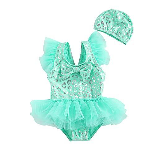 Conjunto de Traje de baño de 2 Piezas para niñas pequeñas, Vestido de Tul con Mangas voladoras y Gorra para Nadar, Traje de baño para la Playa (Green, 1-2T)