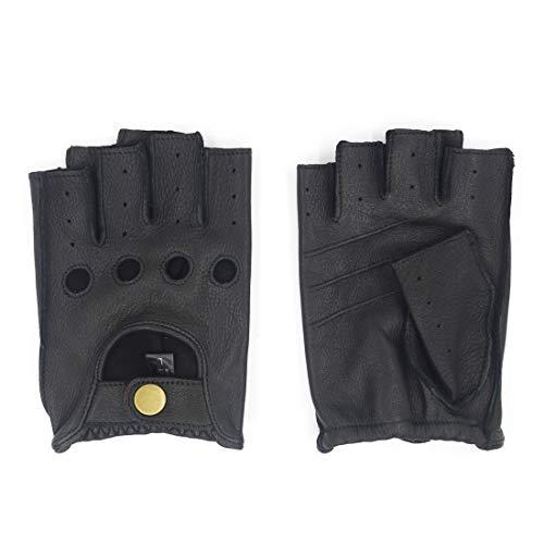Harssidanzar Hombre Guantes de conducción de cuero sin dedos Deerskin Sin forro Dedo medio GM005A,Negro,Tamaño S