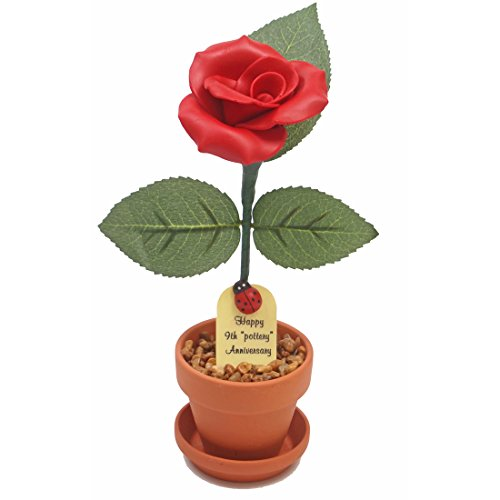 9th Year Wedding Anniversary Gift, Potted Pottery Desk Rose, Perfect Present for Wife or Husband