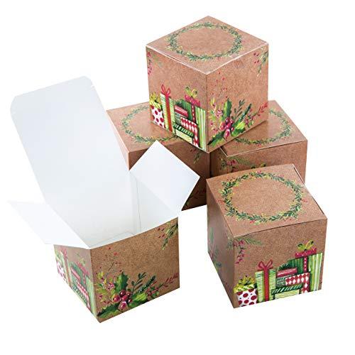 Logbuch-Verlag 25 kleine Geschenkboxen Weihnachten Geschenkschachtel Verpackung 10 x 10 cm Box Schachtel für Weihnachtsgeschenk Kunde Mitarbeiter give-away