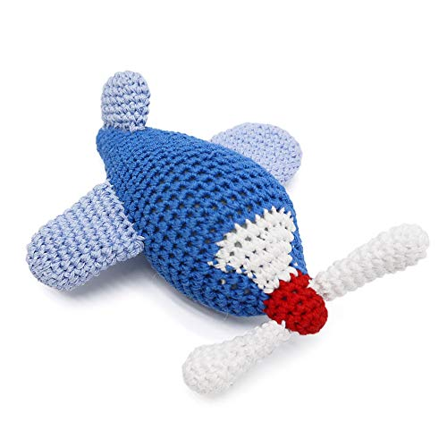 Cotton Crochet Squeaky Dog Toy - Airplane