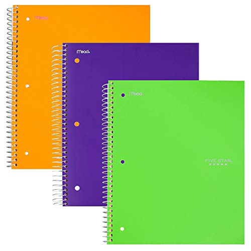 "Five Star Spiral Notebooks, 3 Subject, College Ruled Paper, 150 Sheets, 11 x 8-1/2"", Green, Purple, Orange, 3 Pack (38820)"