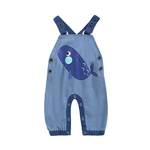 Fenverk Baby Mädchen Denim Overall Jeans Hose mit Hosenträger Kinder Baumwolle Latzhos,Baby-Latzhose-Jungen-Mädchen-Gesamtoverall-Kleinkind-Säuglings-Hose(A Marine,90)