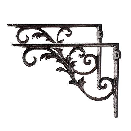 Sungmor Soportes de hierro fundido, resistentes al óxido, resistentes a la corrosión, ángulo recto de 90°, 2 unidades, color marrón y 26 cm, soporte angular elegante y decorativo para juntas