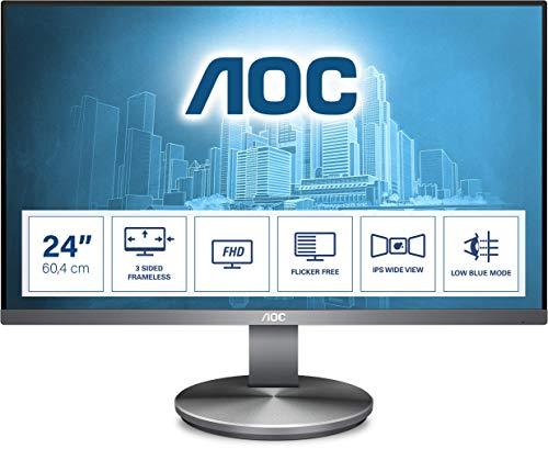 AOC I2490VXQ/BT - 24 Zoll FHD Monitor (1920x1080, 60 Hz, VGA, HDMI, DisplayPort) grau/schwarz