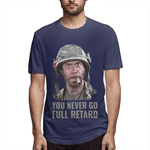 Qudforit You Never Go Full Retard T-Shirt for Men Short Sleeve Tee Navy