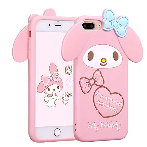 Allsky Case for iPhone 8 Plus/7 Plus/6 Plus,Cartoon Soft Silicone Cute 3D Fun Cool Cover,Kawaii Unique Funny Kids Girls Teens Animal Character Skin Shockproof Funny Pink Cases for iPhone 6SPlus Melody