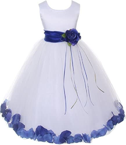 Lilttle Baby Girls Sleeveless Satin Flower Petal Sash Flowers Girls Dresses White Royal XL K16D0B product image
