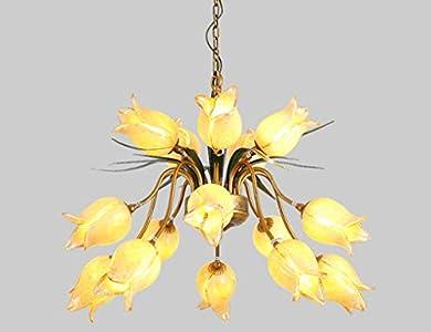 Lustre elegante de estilo floral con 15luces art décor (hojas Metal colgante clásico Forma de flores tulipa en cristal de mano de dormitorio boutique blanco cálido 62* 46cm G9* 15
