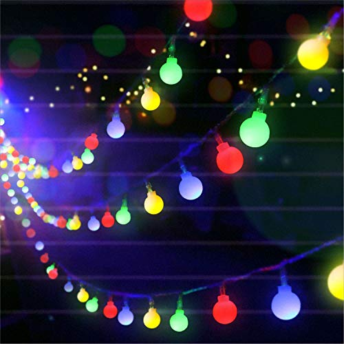 Guirnalda de luces LED impermeables portátiles de 5,5 m, 50 unidades de luces de globo con mando a distancia, luces de pared para bodas, fiestas, decoración de Navidad (multicolor)