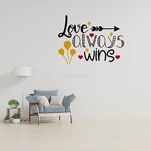 Vinilo adhesivo de pared Love Always Wins decoración de oficina hogar sala de estar