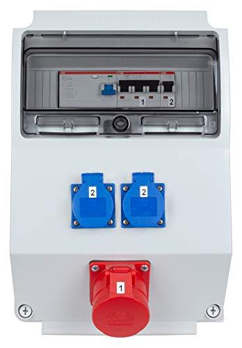 Wandverteiler made in Germany ABB FI 40A - 30mA + ABB Sicherungen 1x16A CEE 2x230V Steckdose