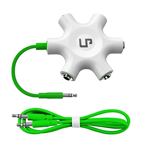 Multi Headphone Splitter, LP 3.5mm Audio Stereo Splitter Cable 3.5mm Male to 5 Port 3.5mm Female for Earphone and Headset Splitter Adapter for iPhone Samsung LG Smartphones Tablets MP3 Players