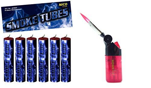 Smoke Tubes 6 X Rauchfackeln Rauchgranate Rauchbomben Rauchgenerator Raucherzeuger Rauchtopf + 1 Profi Sturmfeuerzeug von Home Flair® (Blau)