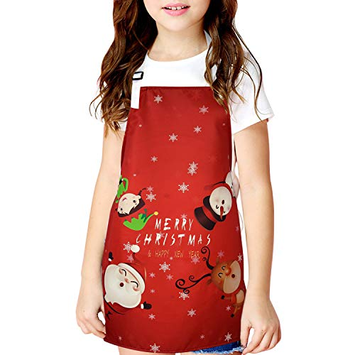 Merry Christmas Day Kids Apron Santa Claus Baking Apron Santa Claus Little Elfin Children Apron Elk Snowman BBQ Apron for Child Christmas Party Gift Room