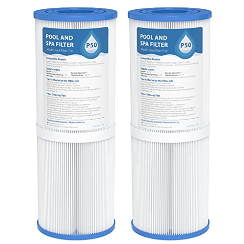 AQUA CREST Pool Spa Filter Replacement for Pleatco PRB50-IN, Unicel C-4950, Guardian 413-212-02, Filbur FC-2390, 03FIL1600, 17-2380, Jacuzzi J200 Series Filter, 373045, 50 sq. ft, Pack of 2