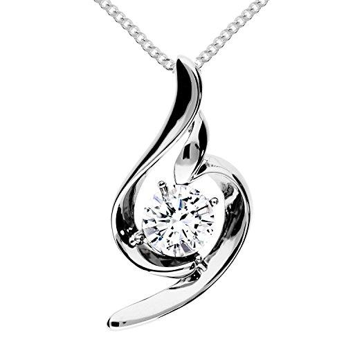 MYA art Damen Halskette Kette 925 Sterling Silber Tropfen Anhänger Chandelier mit Swarovski Elements Strass Kristall Weiß Collier MYASIKET-83