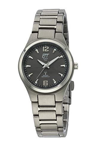 ETT Eco Tech Time Funk Solar Damen Uhr Analog mit Titan Armband ELT-11326-11M