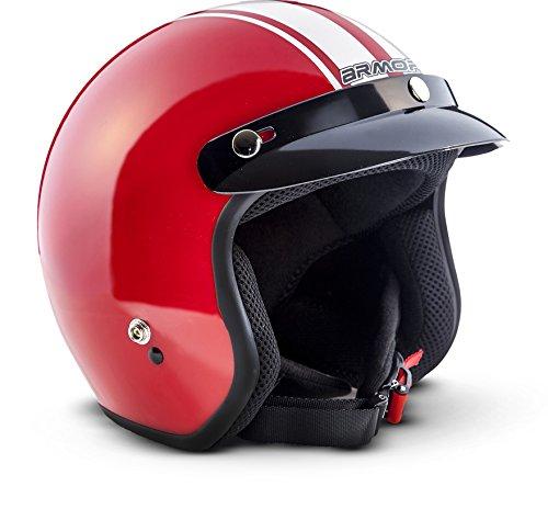 ARMOR Helmets AV-47 Casco Moto Demi Jet, DOT certificado, Bolsa de transporte, Rojo, S (55-56cm)