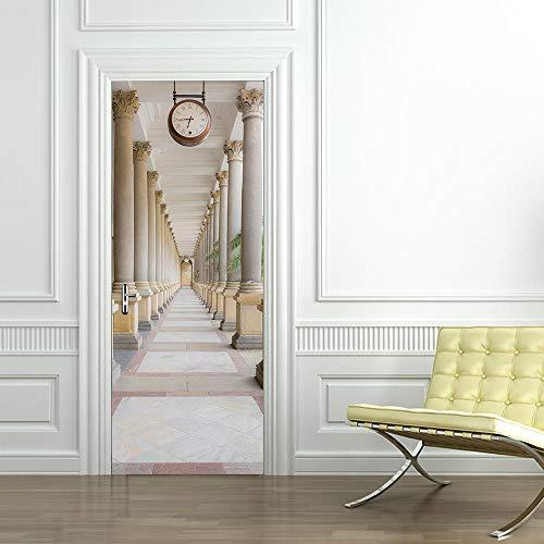 Bdhnmx 3D deur muurschilderingen Peel en Stick klok veranda kunst afbeelding muursticker decoratie zelfklevend behang verwijderbare poster 77x200cm