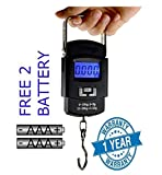 Ionix Imported Portable Digital 50 Kg Weighing Scale with Big Size Metal Hook (Black) (Digital Hanging Scale 50 KG), Weight Machine for Luggage