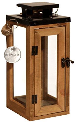 Dekovita 30cm Holz-Laterne - Gartenlaterne mit Glas-Scheiben und Kordel-Henkel - Windlicht Deko-Laterne aus Naturholz