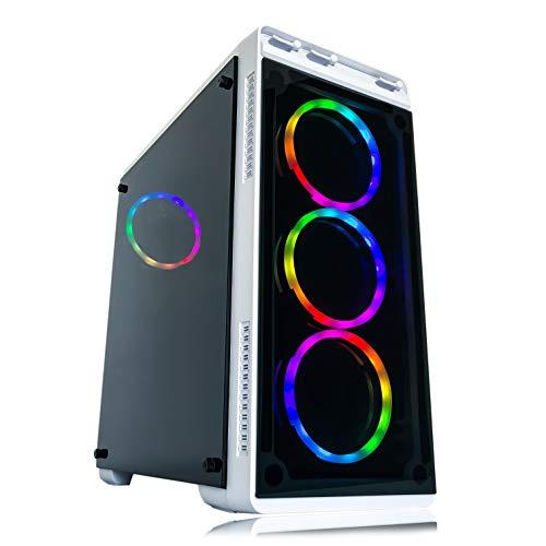 Alarco Gaming PC Desktop Computer White Intel i5 3.10GHz,8GB Ram,1TB HDD Storage,Windows 10 pro,WiFi Ready,Video Card Nvidia GTX 650 1GB, 4 RGB Fans