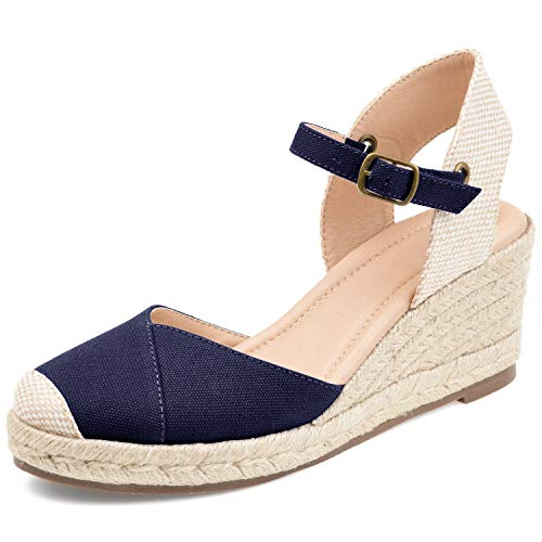 Womens Platform Wedges Espadrilles Cap Toe Wrap Front Slingback Elastic Band Summer Sandals