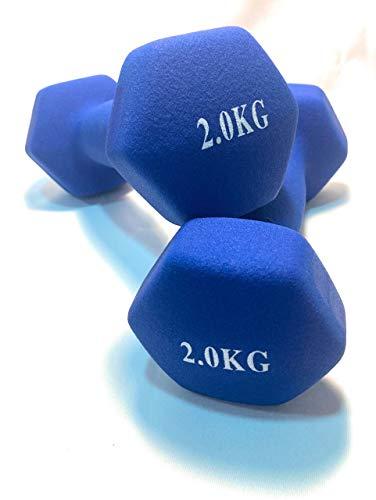 Mancuernas de Neopreno Gimnasio y Entrenamiento en Casa Fitness Pilates Musculación Gym Aire Libre Pesas Hexagonales Mate 2/3/4/5 Kg (Azul, 2 Kg)