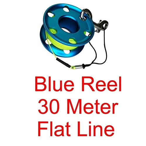 fried Zubehör Tauchrolle mit Edelstahl-Klammer, Sicherheits-Fingerspule für Unterwasser-Taucher, Schnorcheln, Höhle, Gummi (Farbe: Blau, 30 m Flachschnur)