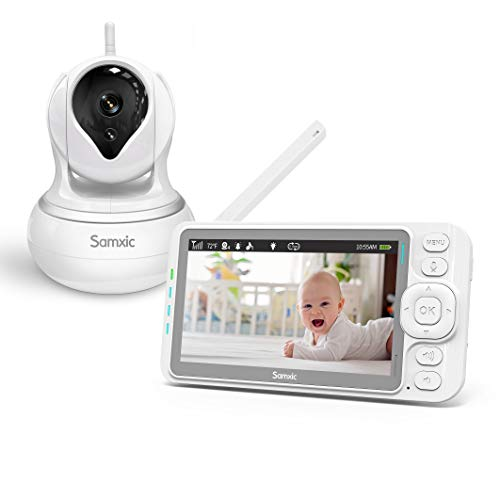 Samxic Video Baby Monitor with 720P Camera, 5 Inches Display, Crying & Temperature Alert, Two-Way Talk, No Glow Night Vision, Remote Pan & Tilt & Zoom, High Privacy Baby Monitor System