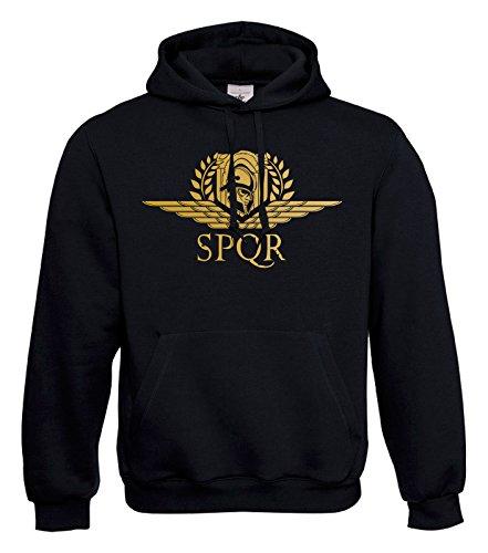 KNOW-MORE-STYLEZ Hooded Sweatshirt Hardcore SPQR Kapuzenpulli Pulli Hoodie Rom Gladiator Legion Legionär Römer Rome Römisches Reich Antikes (L)