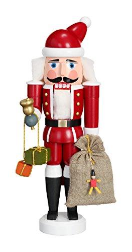 Seiffener Volkskunst Nussknacker Weihnachtsmann, Rot, 28 cm Hoch, Original Erzgebirge