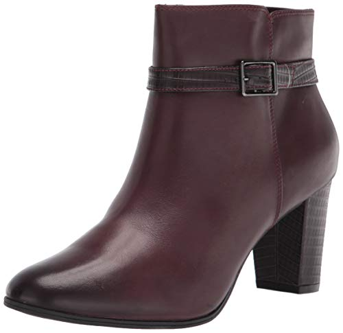 Clarks Women's Alayna Juno Ankle Boot, Burgundy Leather/Synth Combi, 8