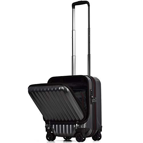 【PROEVO】スーツケース 機内持ち込み フロントオープン ストッパー付き サスペンション 8輪 機内持込 【AVANT】 ダブルキャスター キャリーケース キャリーバッグ 前ポケット 軽量 PCホルダー (SS-33L-スクラッチ/ガンメタリック(ma