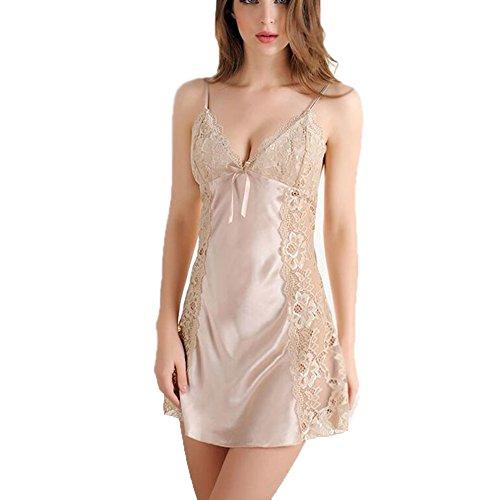 cjc Falda de Pijama de lencería Sexy Encaje de Llamativo Emocional romántico Encaje de Calado Ajustable Color sólido (Tamaño : L(for 55-60 kg))