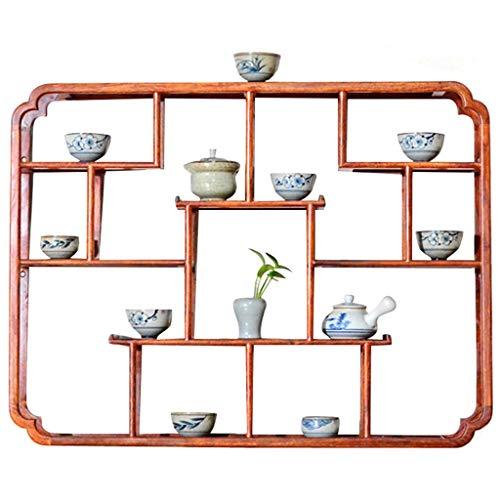 XuQinQin Wandregal, Regal Massivholz Palisander Tee-Set Wandbehang Teekanne Dekoration Aufbewahrungsbox Display Mehrteilig 80x60x12cm wandregal (Color : A)
