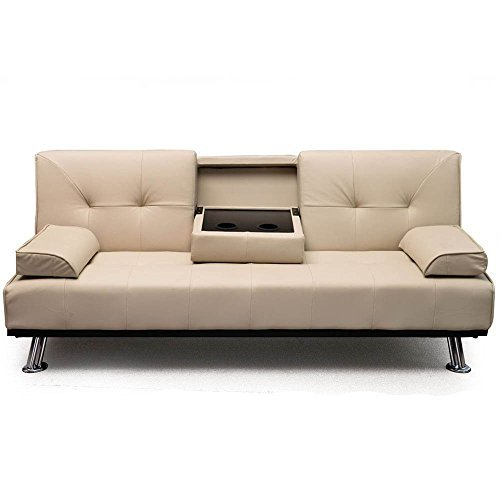 AHOC New Modern Cinema White Ivory Cream Faux Leather 3 Seater Sofa Bed 12 Months Guarantee With Fold Down Drinks Table Now With 12 Months Garauntee (Cream)