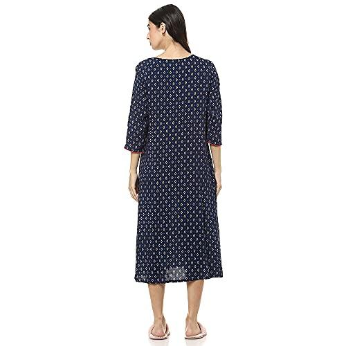 Shyla by fbb Women's Dressing Gown (1001268479_Blue_X-Large)