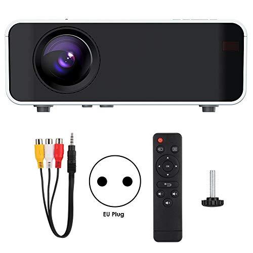 Diyeeni Tragbarer Mini-Digitalprojektor, 1280P, 16770K Farben, LCD-Projektionstechnologie für Heimkino/Multimedia-Klassenzimmer/Konferenzraum, Unterstützt Dual-USB/HDMI/USB/AV/VGA(EU Plug)