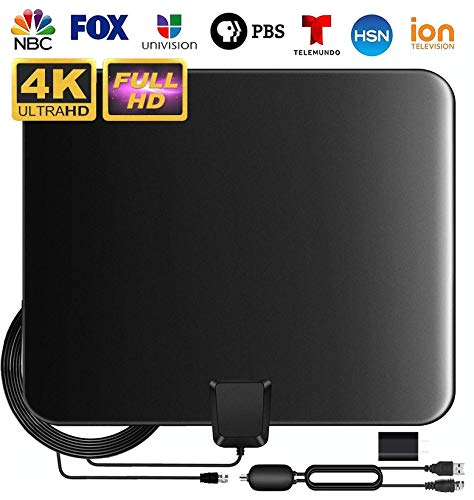 Updated 2020 Best TV Antenna for Digital TV Indoor, HD TV Antenna Support 4K 1080P with Adjustable Amplifier Signal Booster, 90-140 Miles Range Digital Antenna for HDTV Freeview Life Local Channels