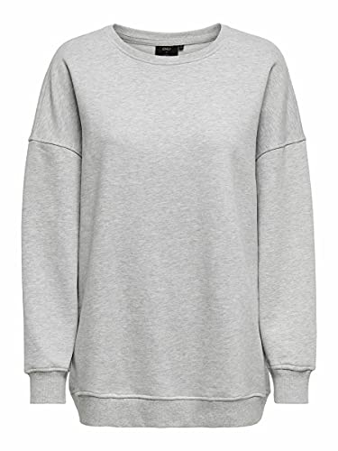Only ONYFAVE Life L/S O-Neck Oversized SWT Sweatshirt, Light Grey Melange, S para Mujer