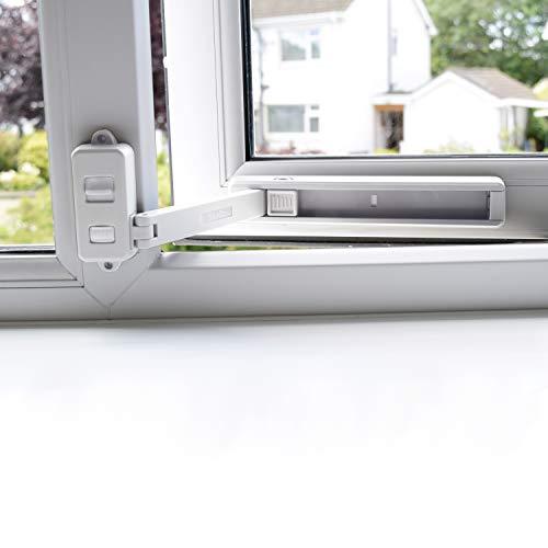 BeeGo Fensterriegel, Kindersicherheitsschlösser für UPVC, Holz, Metall, Aluminium-Fensterrahmen, selbstklebend, kein Werkzeug oder Bohren, einfache Installation (1 x Schloss) - Weiß