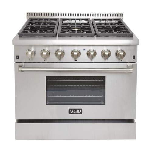 Kucht KRD366FLP 36' Professional Liquid Propane Dual Fuel Range with 6 Sealed Burners 5.2 cu. ft. Oven Capacity 4' Stainless Steel Backsplash Convection and 2 Halogen Lights in Stainless