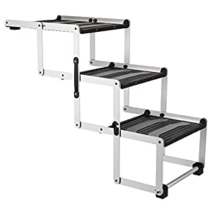 TRIXIE Heavy Duty Foldable Aluminum Pet Steps, for Dogs Up to 165 Pounds Height Adjustable from 19.5 to 27.5 Inches