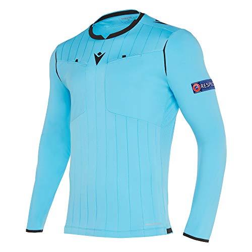 Macron Fußball 1/1-Arm-Shirt UEFA Referee 19 Schiedsrichter Trikot Herren hellblau Gr XL